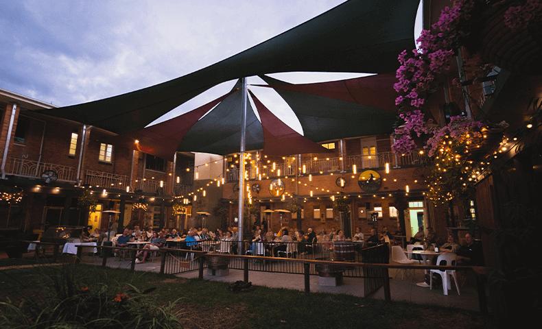 The outdoor beer garden.