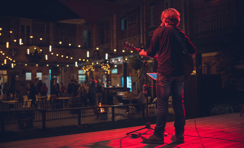 Live music in the outdoor entertainment area.